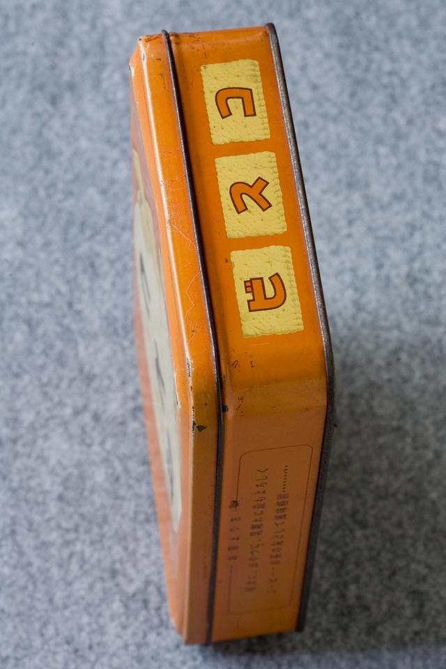 アンティークなglico:グリコの「2代目ビスコ坊や」の箱型ブリキ空缶-07