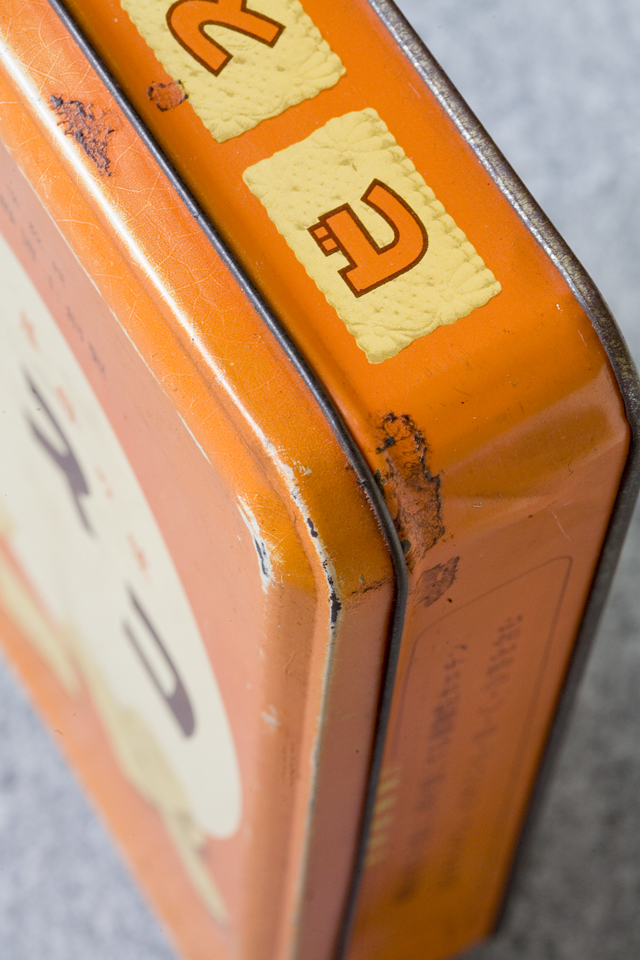 アンティークなglico:グリコの「2代目ビスコ坊や」の箱型ブリキ空缶-08