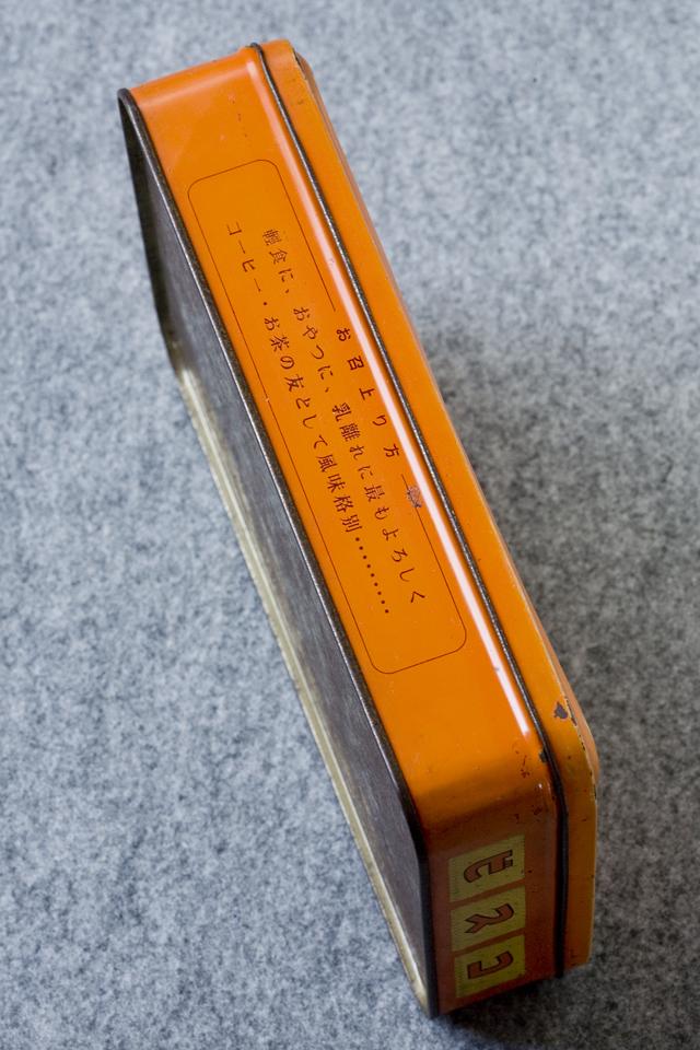 アンティークなglico:グリコの「2代目ビスコ坊や」の箱型ブリキ空缶-10
