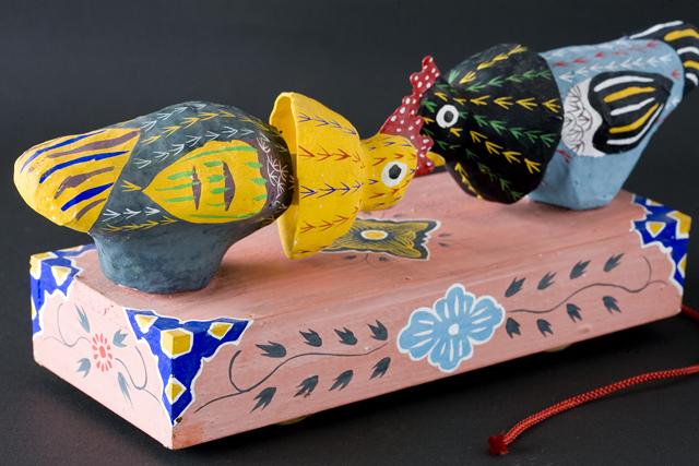 琉球郷土玩具、古倉保文作「張子の鶏二羽」-06
