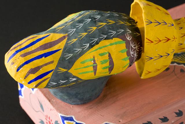 琉球郷土玩具、古倉保文作「張子の鶏二羽」-09