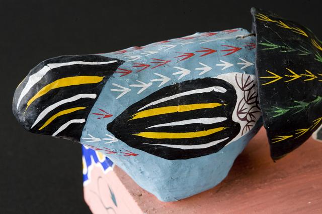 琉球郷土玩具、古倉保文作「張子の鶏二羽」-10