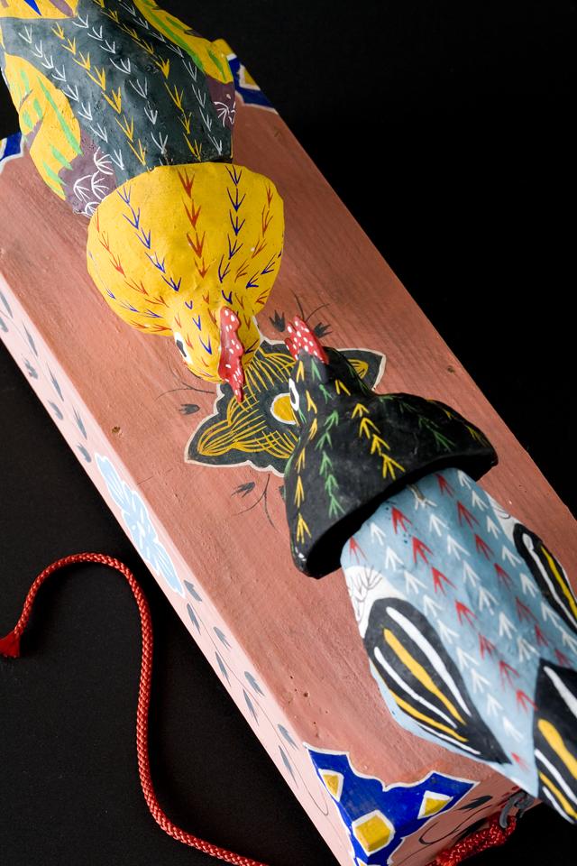 琉球郷土玩具、古倉保文作「張子の鶏二羽」-11