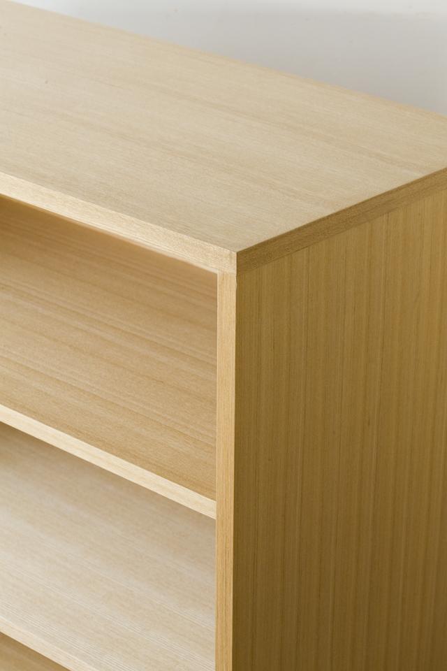 中古無印良品:MUJIの「組み合わせて使える木製収納・本体・ロータイプ・奥行40cm・タモ材」-07