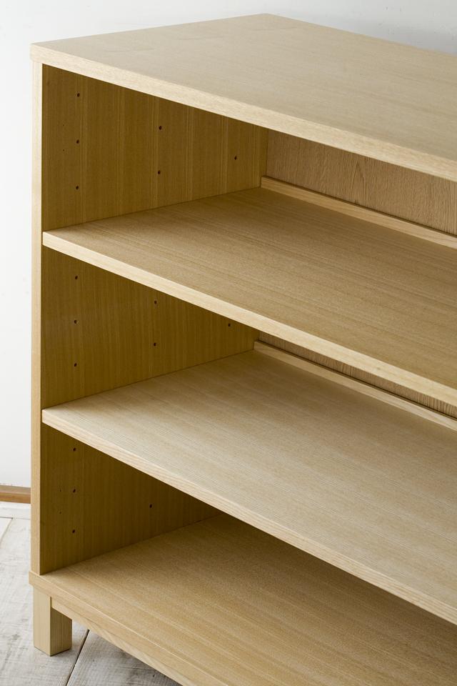 中古無印良品:MUJIの「組み合わせて使える木製収納・本体・ロータイプ・奥行40cm・タモ材」-08