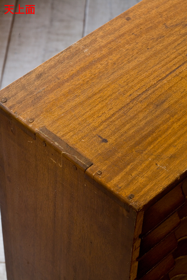 アンティークな古い木製レターケース-13a