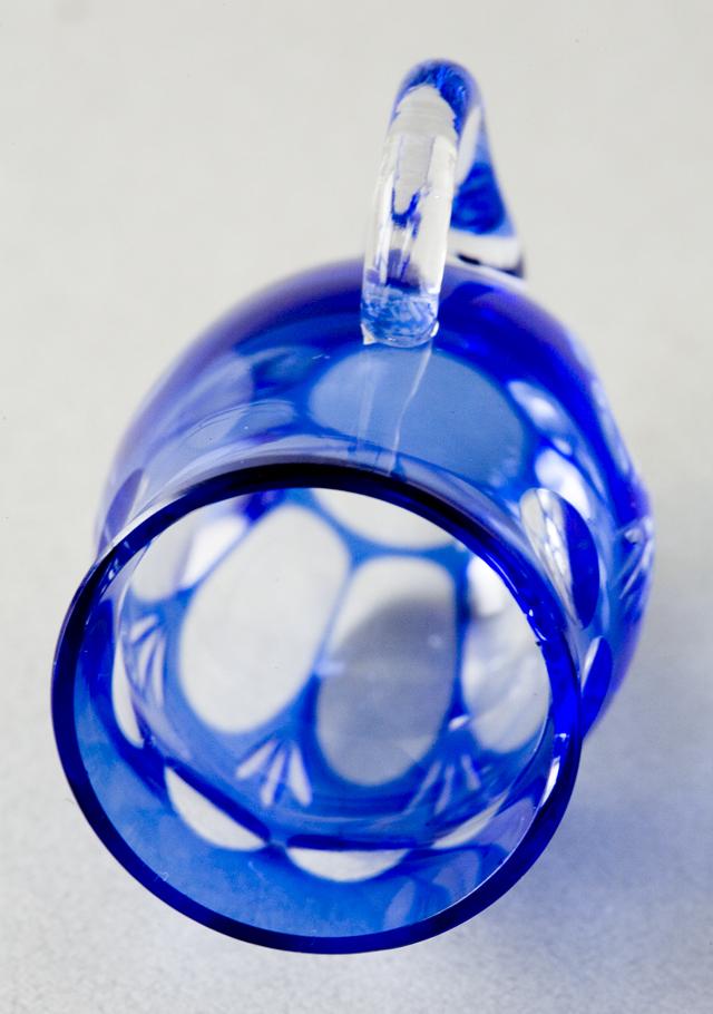 青色被切子硝子のミニチュアカップ&ソーサー6客セット-06