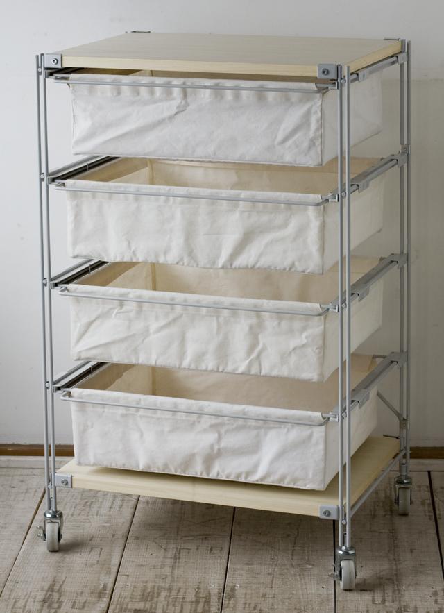 無印良品の「スチールユニットシェルフ・帆布バスケット・木製棚セット 幅56cmタイプ」-01