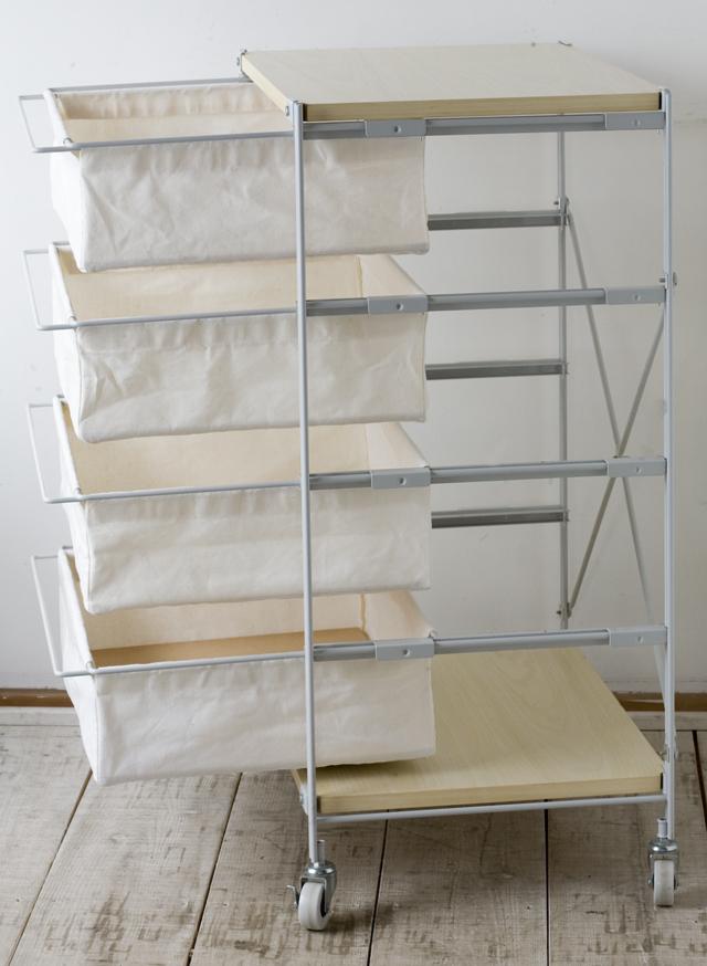 無印良品の「スチールユニットシェルフ・帆布バスケット・木製棚セット 幅56cmタイプ」-03