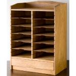 アンティークな古い木製レターケース・カルテ入れ・書類棚・小引出