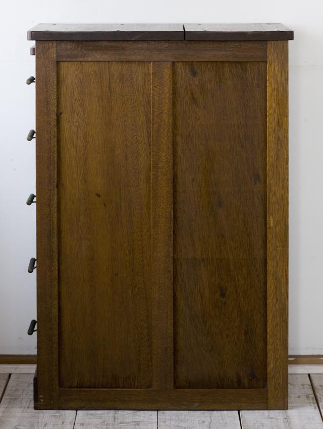 アンティークな古い収納式作業台付スリム木製チェスト-03