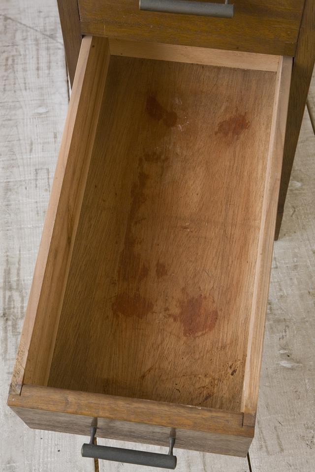 アンティークな古い収納式作業台付スリム木製チェスト-14
