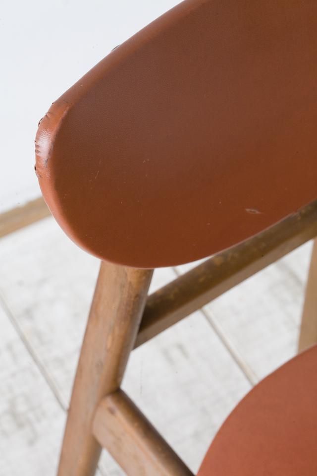 アンティークチェア、昭和レトロな小さめの椅子-09