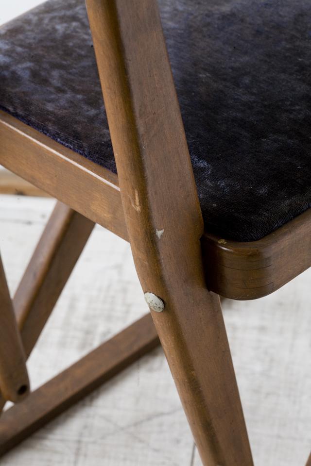アンティークチェア、昭和レトロな小さめの椅子-14