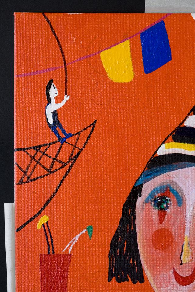 塙賢三:HANAWA KENZOの油絵「道化」-10