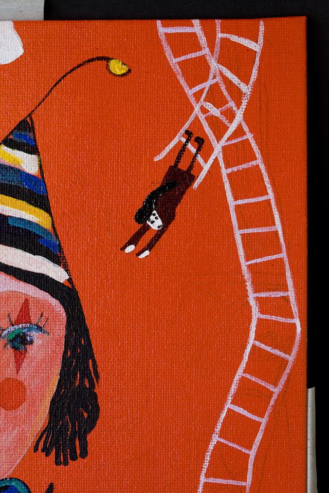 塙賢三:HANAWA KENZOの油絵「道化」-11