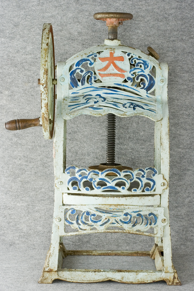 昭和レトロな古い手回しかき氷機「大一」-02