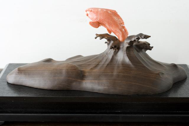 珊瑚の鯉の置物-02