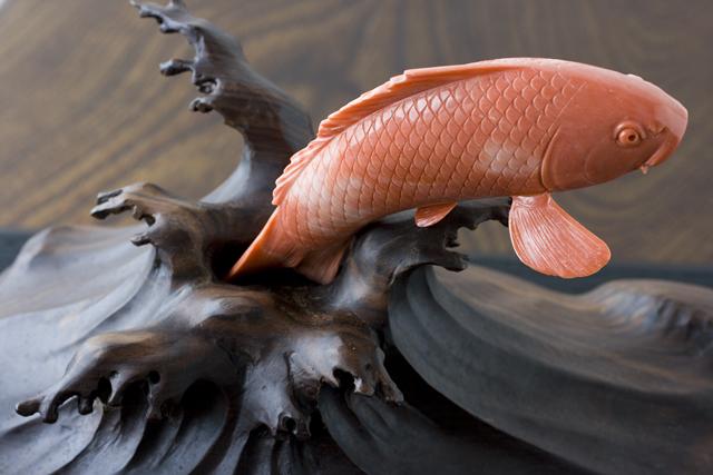 珊瑚の鯉の置物-10