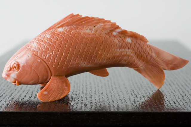 珊瑚の鯉の置物-13