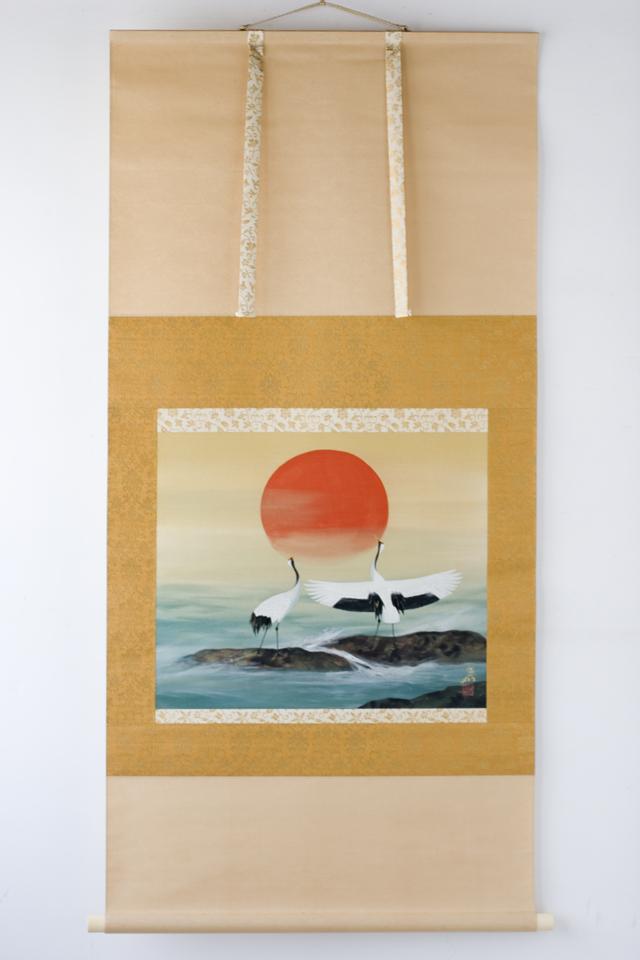 日本画家「川村憲邦:かわむらけんぽう」旭日双鶴-01