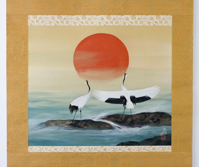 日本画家「川村憲邦:かわむらけんぽう」旭日双鶴-02