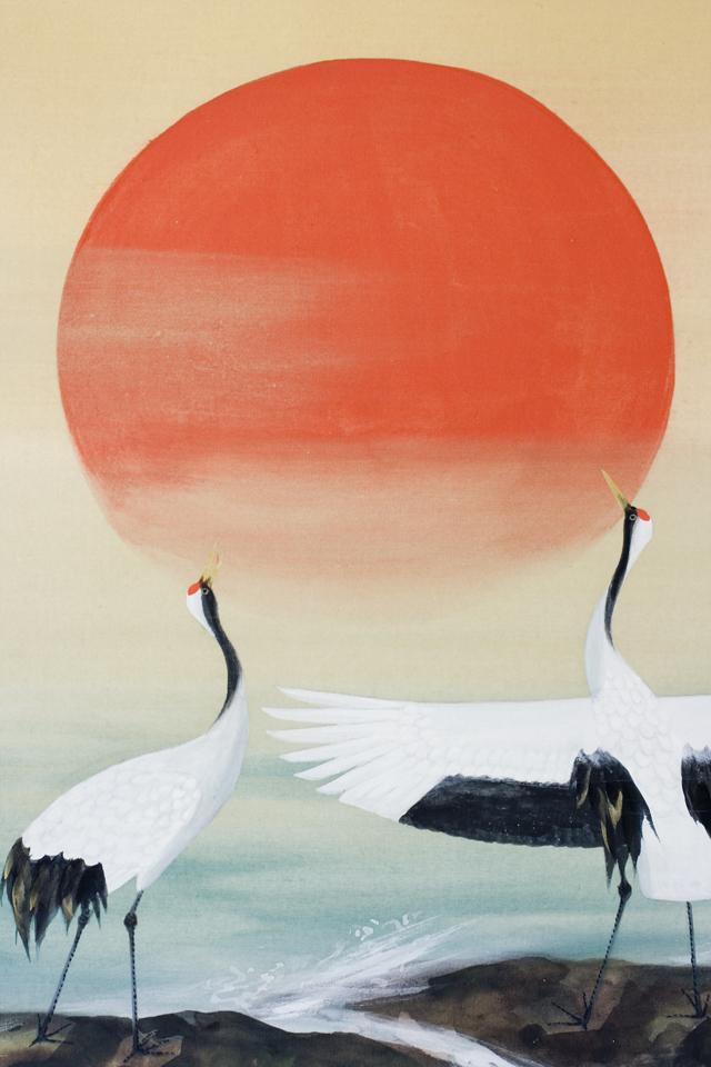 日本画家「川村憲邦:かわむらけんぽう」旭日双鶴-04