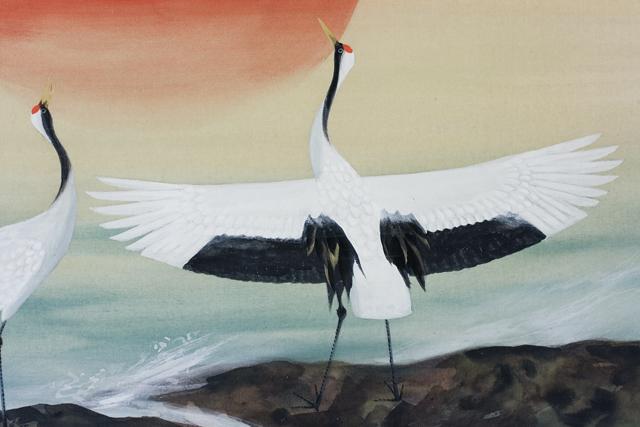 日本画家「川村憲邦:かわむらけんぽう」旭日双鶴-05