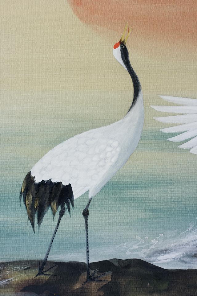 日本画家「川村憲邦:かわむらけんぽう」旭日双鶴-07