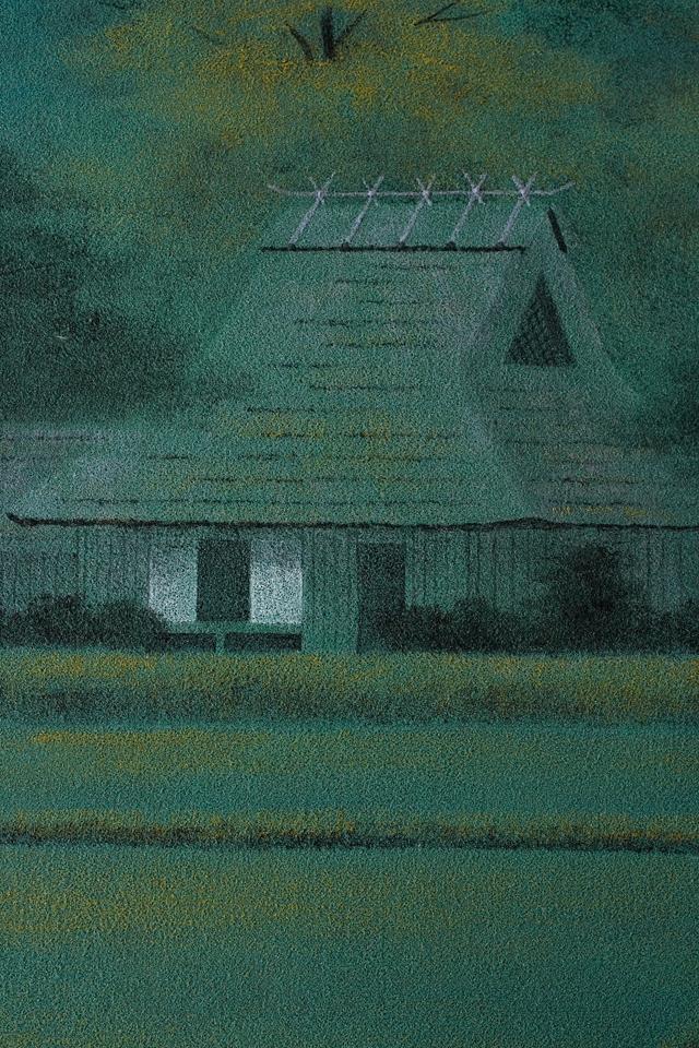 日本画家「宇田裕彦:うだひろひこ」の里山風景画「洛北の里」-05