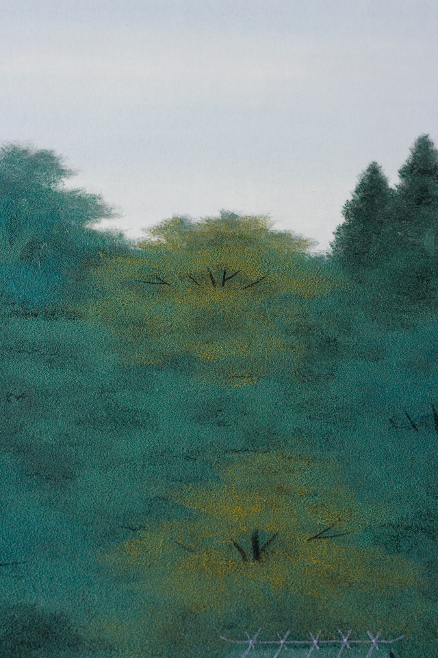 日本画家「宇田裕彦:うだひろひこ」の里山風景画「洛北の里」-06