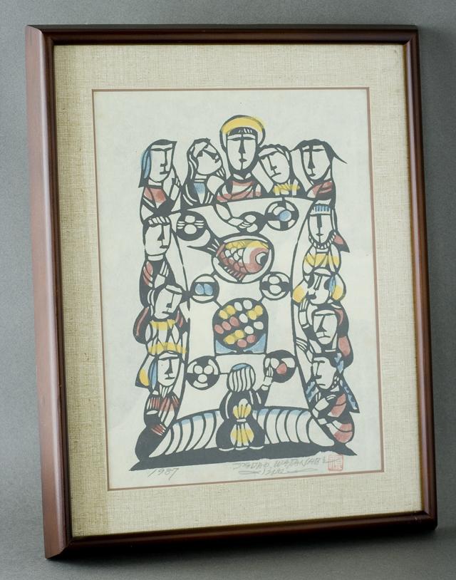 版画家「渡辺禎雄:SADAO WATANABE」の聖書版画「最後の晩餐」-01