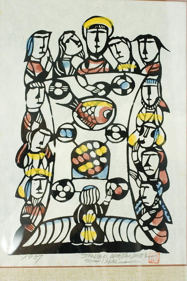 版画家「渡辺禎雄:SADAO WATANABE」の聖書版画「最後の晩餐」-02
