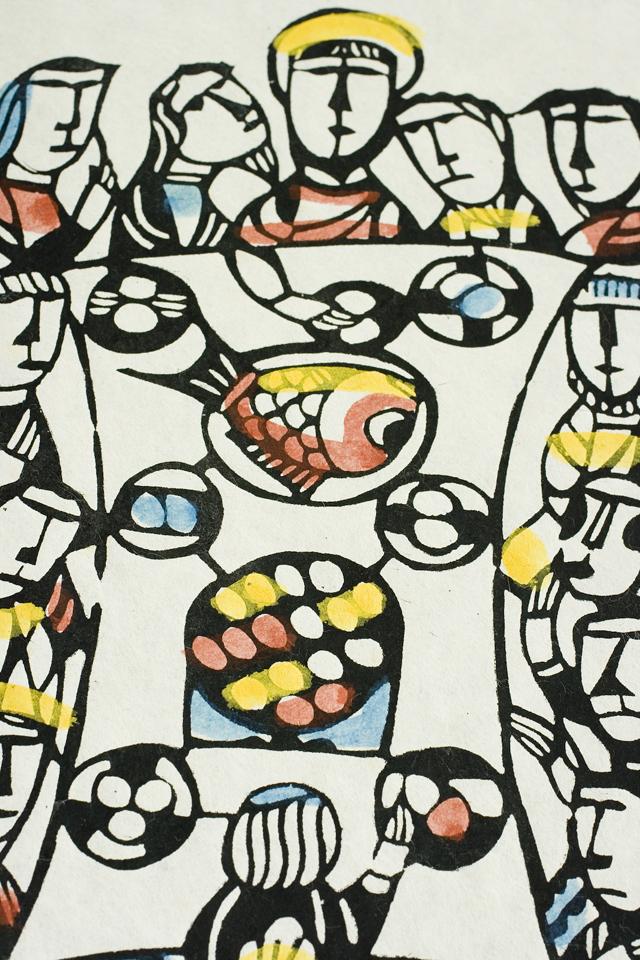 版画家「渡辺禎雄:SADAO WATANABE」の聖書版画「最後の晩餐」-05