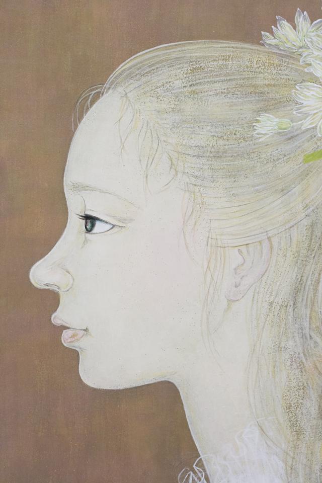 日本画家|皆川千恵子の「白い花」-08