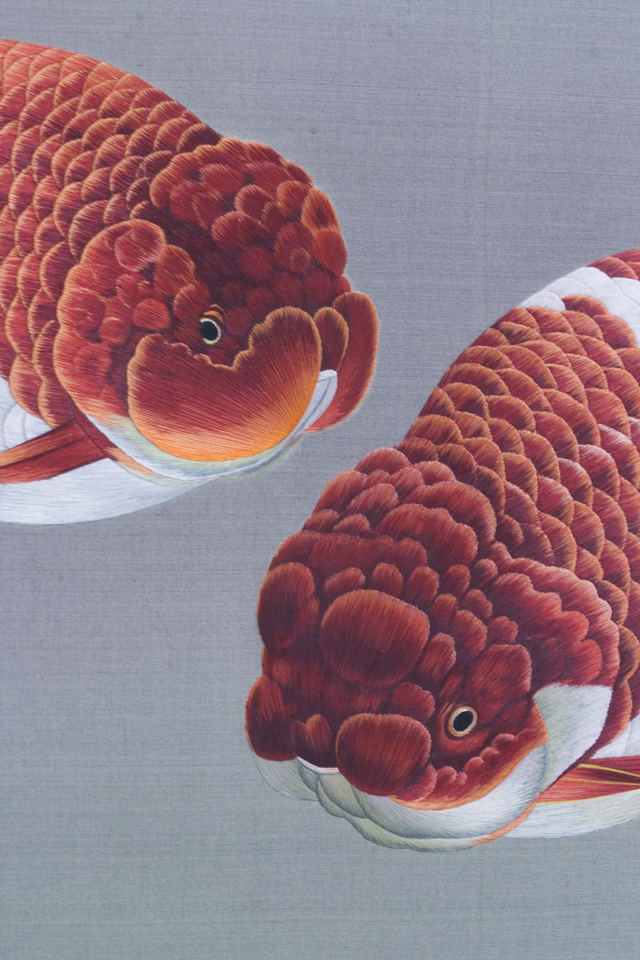 古い中国刺繍の硯屏-04