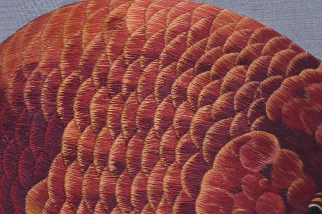 古い中国刺繍の硯屏-05