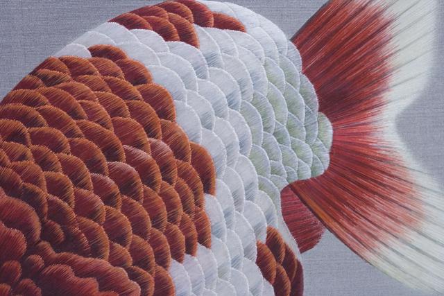 古い中国刺繍の硯屏-06