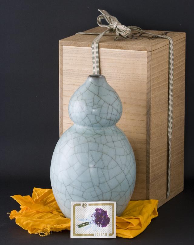 人間国宝陶芸家「清水卯一」青磁瓢形花瓶-01
