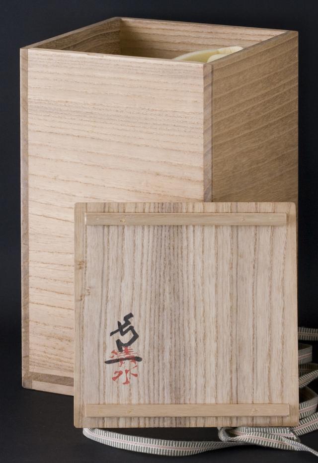 人間国宝陶芸家「清水卯一」青磁瓢形花瓶-12
