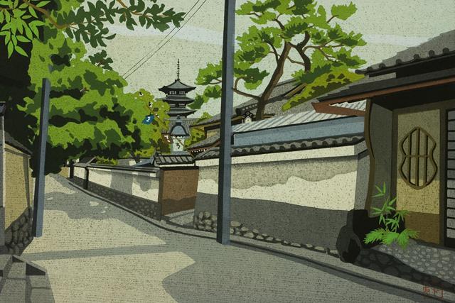 木版画家「井堂雅夫|Masao Ido」作品「清水への道」-07