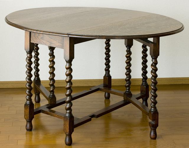 イギリスアンティーク、ツイストレッグの「バタフライテーブル」-01