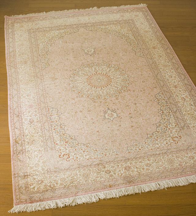 「10ノット/1cm」ピンク系高級ペルシャ絨毯-01