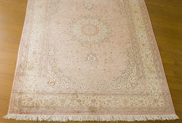 「10ノット/1cm」ピンク系高級ペルシャ絨毯-02