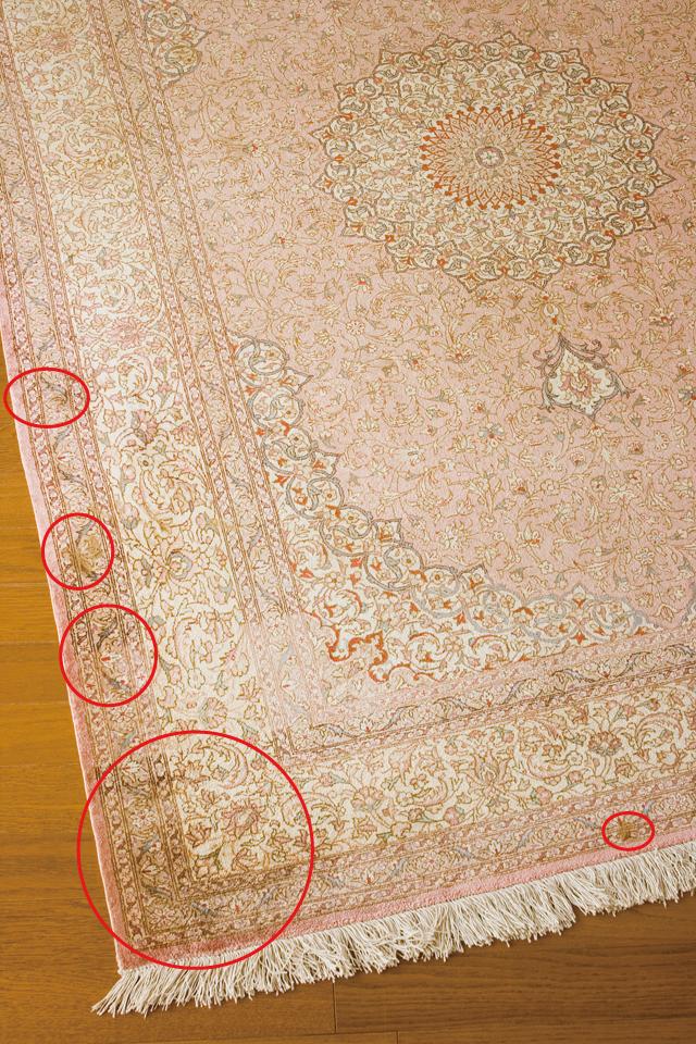 「10ノット/1cm」ピンク系高級ペルシャ絨毯-08a