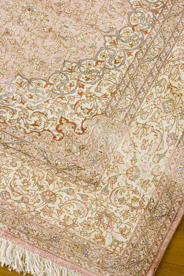「10ノット/1cm」ピンク系高級ペルシャ絨毯-10