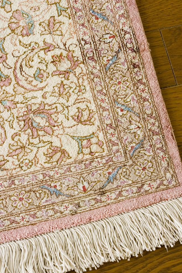 「10ノット/1cm」ピンク系高級ペルシャ絨毯-11