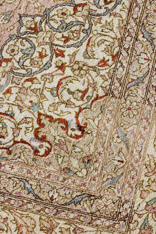 「10ノット/1cm」ピンク系高級ペルシャ絨毯-12