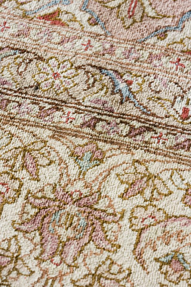 「10ノット/1cm」ピンク系高級ペルシャ絨毯-13