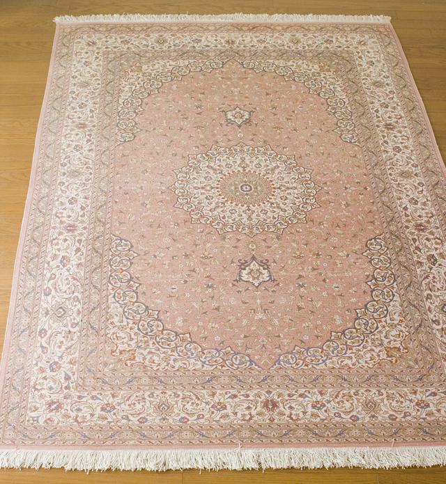 「10ノット/1cm」ピンク系高級ペルシャ絨毯-15
